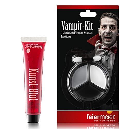 PartyMarty Vampir Dracula Schmink Set: Filmblut Kunstblut Vampierblut 30ml & 3 Dracula Schminkfarben