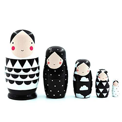 NaiCasy 5pcs russische Matroschka, russische Verschachtelungs-Puppen aus Holz Schwarzweiss-Verschachtelungs-Puppen Russian Doll Set für Kinder-Spielzeug-Geschenk Dezember