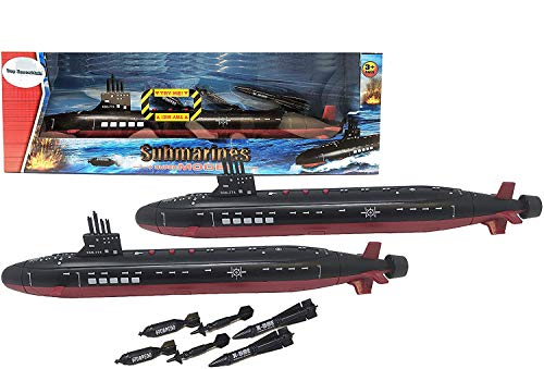 16.5 Inch Toy Navy Black Submarine with Sound Effects and Torpedo (2 Pack)