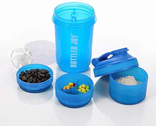 Shaker Bottle with Protein Storage 600ML Protein Shaker Bottle with Ball 20oz Shaker Bottle for Adults Travel Cup with Storage Boxes BPA-Free Water Bottle Portable Shaker Mixer Bottle for Indoor and Outdoor Fitness