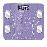 高精度デジタル体重計体重計、インテリジェント電子スクリーンスケール表面、LCD高精細ナイトビジョンスクリーンディスプレイ,紫色