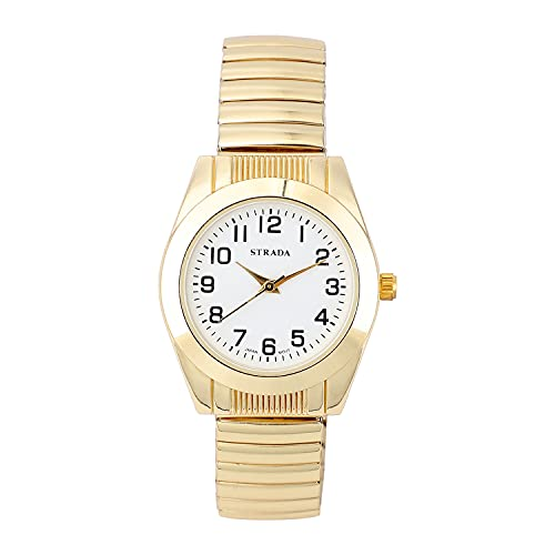 Shop LC Strada Japanese Movement Stretch Bangle Stylish Antique Wrist Watch in ION Plated YG Stainless Steel