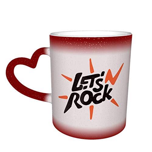N\A Red Let 'S Rock Taza de té de café de cerámica Impresa Taza de té de Agua Bebidas Taza fría y Caliente