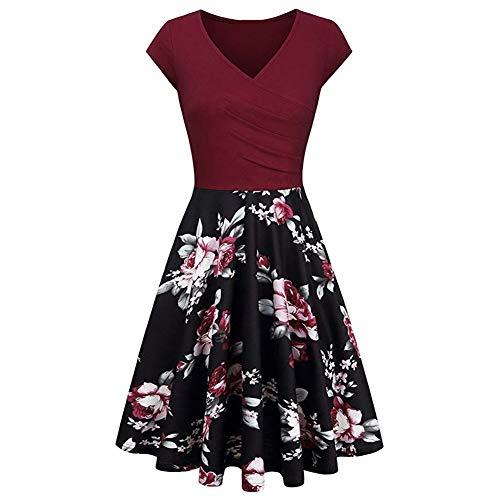 Vestido de cóctel retro con cuello en V con estampado floral y una línea de cóctel vintage de los años 50 Rockabilly Flare Swing vestidos de fiesta