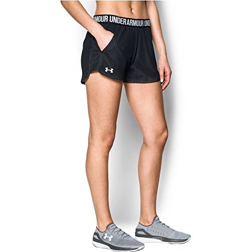 Under Armour Women's Play Up short 2.0 - Mesh, Black /White, Small