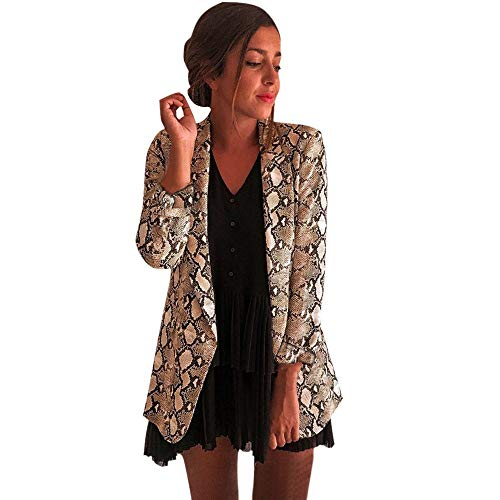 Auifor Dames slangenprint lange mouwen klauwen jas blazer fietser jas outwear bovenkant