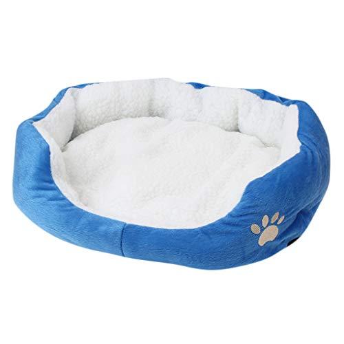 Yowablo Mat Pad Haustier Hund Welpe Katze Vlies Warmes Bett Haus Plüsch Gemütlich (50X40cm,1Blau)