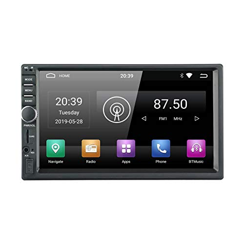 EZoneTronics 2DIN 7 Zoll Android 9.0 Autoradio Stereo Head Unit kapazitiver Touchscreen High Definition 1024x600 GPS Navigation mit USB SD WiFi Bluetooth AM FM Audio Player 1G RAM + 16G ROM