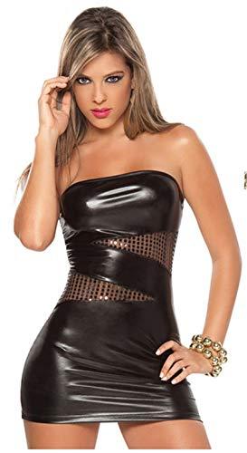 Embryform Vestido de Charol de una Pieza para Mujer, Sexy Falda de Piel sintética súper elástica Protección del Medio Ambiente Charol Brillante para Vestido de Cuero Ajustado