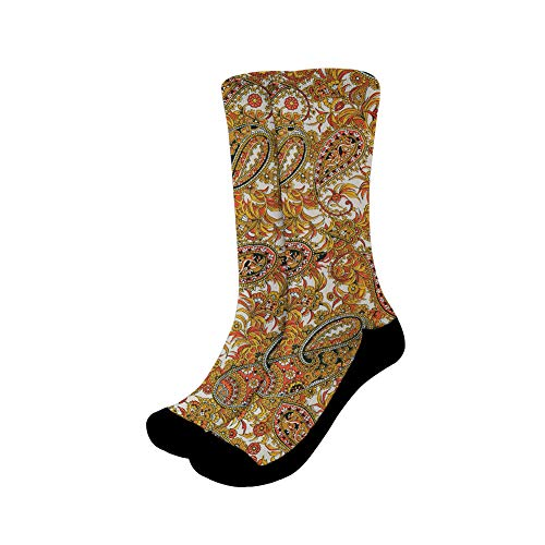 chaqlin Damen Paisley-Socken, schnelltrocknend, dick, warm, bequem, für Workout, Training, Yoga, Performance L Muster 4
