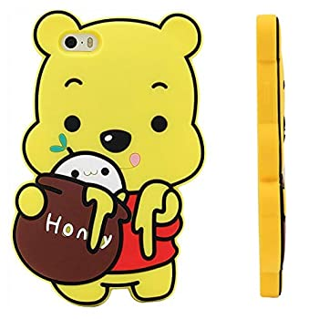Honey Bear Case for iPhone 7/8/SE 2020 4.7  inch,3D Cartoon Animal Pooh Design Cute Soft Silicone Cover Kawaii Animated Stylish Fashion Cool Skin for Kids Child Teens Girls Women  iPhone7 /iPhone8