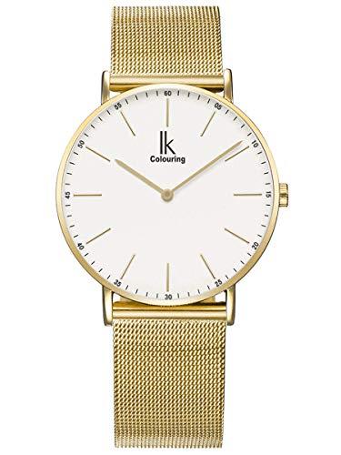 Alienwork Armbanduhr Herren Damen Gold Metall Mesh Armband Edelstahl Weiss Ultra-flach