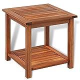 Wakects Beistelltisch aus Akazienholz mit offenem Fach, seitlicher Tisch für Garten, Terrasse, Balkon, 45 x 45 x 45 cm (L x B x H)
