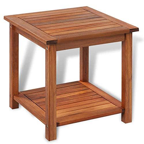 Bijzettafel van acaciahout, voor binnen en buiten, 45 x 45 x 45 cm, tuin, terras, balkon, voor slaapkamer, woonkamer, bruin