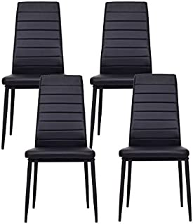 IDS Online 4 PCS Set Dining Side Chair with Foot Pad Modern Style with Black PU Leather,