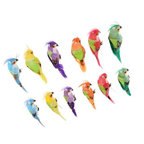 Baoblaze 12pcs Fake Artificial Parrot Model Set Toy for Home Office Desk Decoration