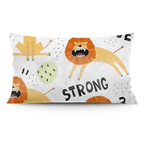 ocaohuahuaba Funda de almohada con diseño de leones de dibujos animados con letras de estrellas y elementos decorativos, con apertura y cierre de cremallera, funda de almohada de 50,8 x 91,4 cm