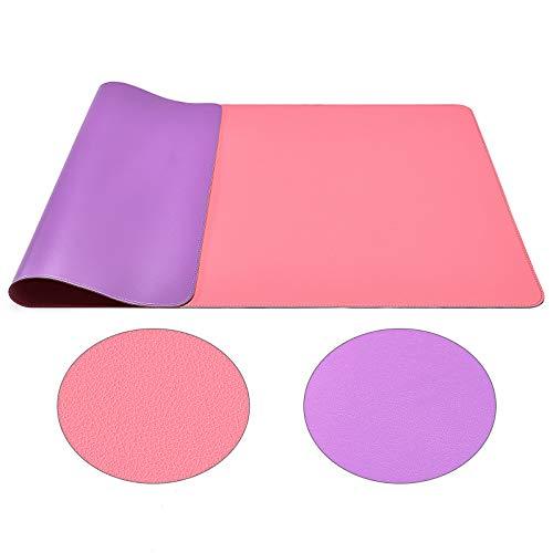 Protector de escritorio de doble cara, multifuncional, impermeable, para escritorio, mesa de piel para escribir, almohadilla grande para teclado y ratón (90 x 43 cm, rosa lila)