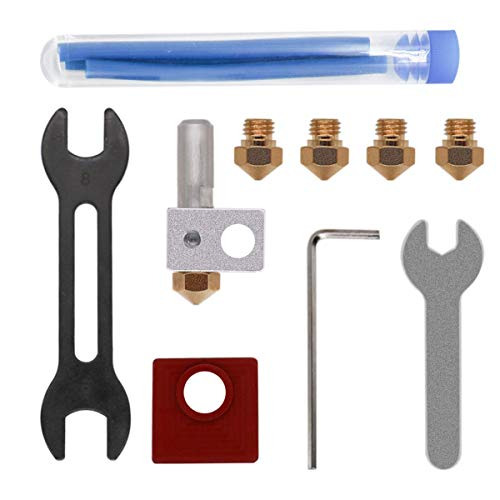 Kehuashina Metal Hot End Kit Include Melt Brass Nozzle PTFE Liner Wrench Set 3D Printer Accessory Compatiable with MK10