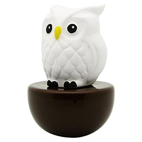 Lively Breeze Blinky Owl, Non-Electric Ceramic Diffusers for Essential Oils and Aromatherapy Fragrance, White Ceramic Diffusers in Car or Desk Office Decor and Small Bathroom at Home, Brown Vase