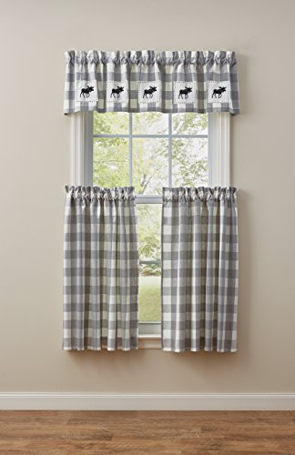 Park Designs Wicklow Gray & White Check Tier Curtain Pair, 72W x 36L, Dove