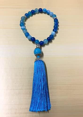 Japamala 27 Contas Ágata Azul Natural Tassel Buda