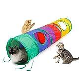 nonbrand Túneles De Gato para Gatos De Interior, Túnel De Gato Plegable De Arco Iris Gato Aburrido Juguetes para Mascotas Mirilla Bola De Juguete Gato, Cachorro, Gatito, Gatito, Conejo
