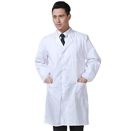 Bata Médico Laboratorio Enfermera Sanitaria de Trabajo Blanca de Manga Larga Unisex (Blanco, XL)