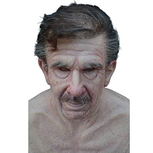 Halloween Latex alte menschliche Maske gefälschte Haare Simulation Bart Falten alte Männer Frauen Kopf Gesichtsmaske realistische Maskerade Requisiten Holiday Party Dress Up Kostüm