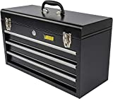 JEGS 3-Drawer Portable Toolbox | Ball-Bearing Drawer Slides | Rust-Resistant Latches | Black Powder Coat Finish | Includes Lock and Keys