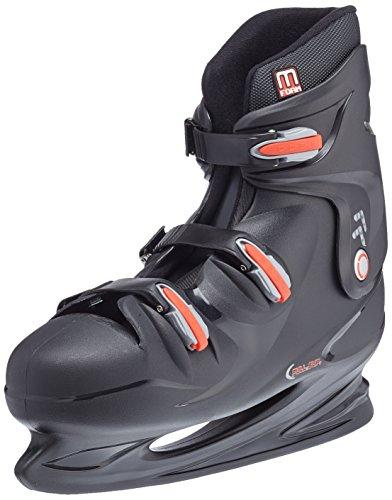 Nijdam Herren Eishockeyschlittschuhe Hardboot, Schwarz/Rot, 49