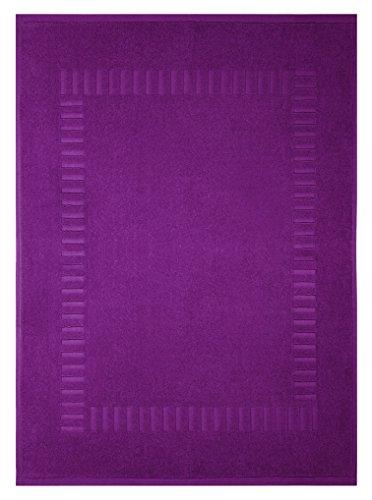 Lashuma Badvorleger Lila - Brombeer, Moderner Saugstarker Duschteppich, Pure 50 x 70 cm