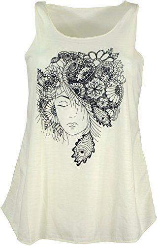 Guru-Shop Tanktop mit Ethnodruck, Damen, Elfe Creme, Synthetisch, Size:38, Tops & T-Shirts Alternative Bekleidung