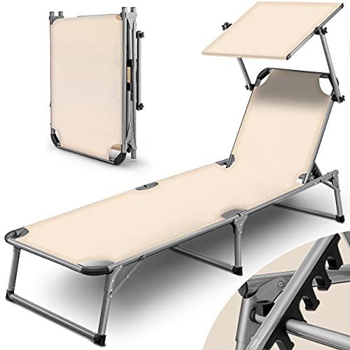 tillvex Sonnenliege mit Dach   Gartenliege klappbar   Liegestuhl mit 6-Fach Verstellbarer Rückenlehne und Tragegriff (Beige)
