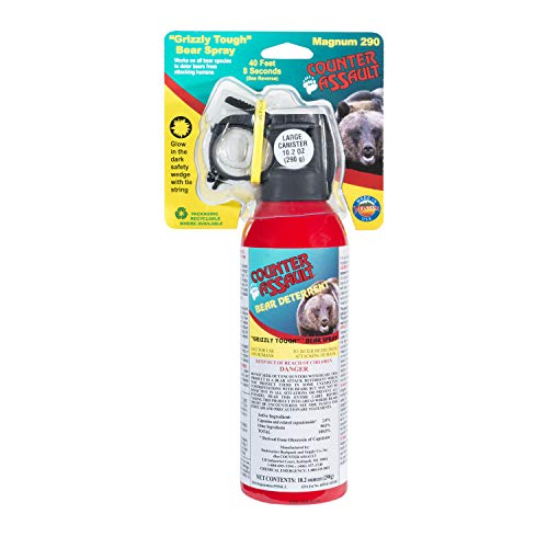 Counter Assault - EPA Certified, Maximum Strength & Distance Bear Repellent Spray - Effective Against Every Type of Bear - Hottest Formula Allowed by Law - Glow in The Dark Safety Wedge (10.2 oz)