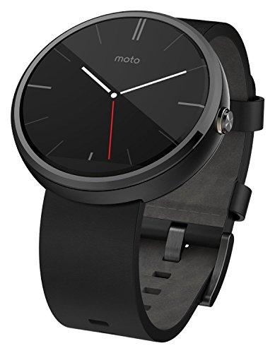 Motorola 00526NACRTL Moto 360 Black Leather Smart Watch Dark ,Black Leather Band