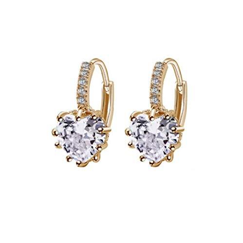 LAANCOO En Forma de corazón Pendientes Zircon Rhinestone cuelga el oído de la joyería de la Boda del aro de Las Mujeres hipoalergénico Encanto Tono Plateado del Oro