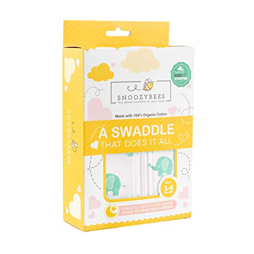 SNUGGLEBEES Swaddle Blanket Wrap for Newborn Baby - Premium Organic Soft Cotton Sleep Sack Blanket for Baby Registry, Breathable and Lightweight for Relaxing Sleep (Small, Elephant)