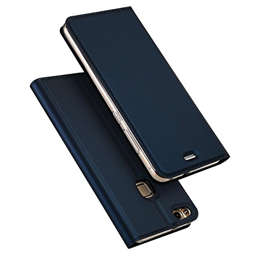 Verco Handyhülle für P9 Lite, Premium Handy Flip Cover für Huawei P9 Lite Hülle [integr. Magnet] Book Hülle PU Leder Tasche, Blau