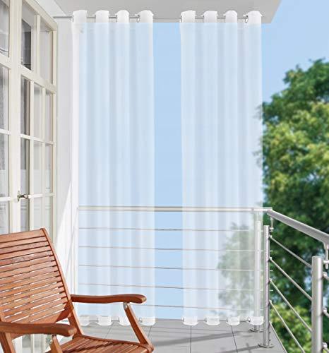 Clothink Outdoor Vorhänge 132x215cm mit Ösen (1 Stück) Oben(ID:4cm)+Unten(ID:1,6cm) Weiss Winddicht Wasserabweisend Sichtschutz Sonnenschutz UVschutz