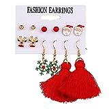 FEARRIN Pendientes Pendientes de Borla inusuales de Moda para Mujer Elk Pendientes de botón de árbol de Navidad Set Joyería Regalos H22-ZL1284