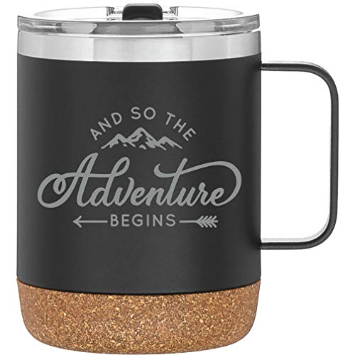 And So The Adventure Begins Mug - 12oz Camping Mug with Cork Bottom - Congratulations Gifts - Retirement Gifts for Women or Men - New Job Gift (Matte Black)