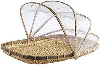 Cocoboo Bamboo Food Serving Tent   Natural Artisan Handmade Tray w/Mesh   Food Storage Basket   Meal Table Serve w/Cover 13 x 11 x 8 inches