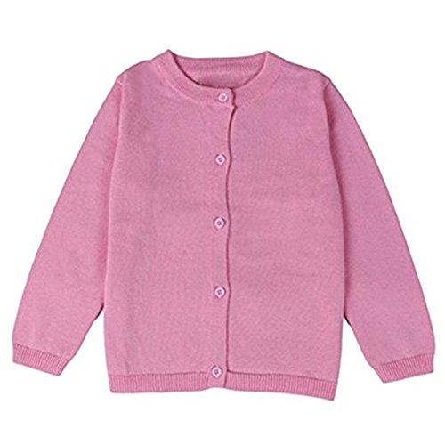 FAIRYRAIN FAIRYRAIN Baby Mädchen Kinder Einfarbig Basic Strickjacke Strickpullover Jacket Langarm Cardigan Pullover 12-18 Monate Rosa