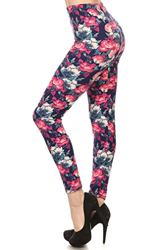 Premium Quality Ultra Soft Printed Leggings – Regular and Plus Size – 50 Different Designs (Plus (12 – 24), Pink Blue Floral 2)