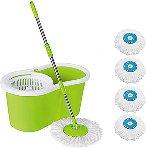 HISCIN Mop Floor Cleaner with Bucket Set Offer with Big Wheels for Best 360 Degree Easy Magic Cleaning 4 Microfiber Colour May Vary Pack 1
