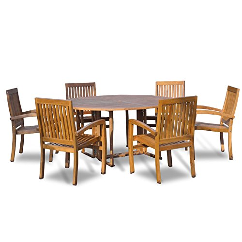 Bayview Patio - New 7Pc Grade-A Indonesian Teak Outdoor Dining Set-60 Round Table & 6 Patara Teak Stacking Chairs