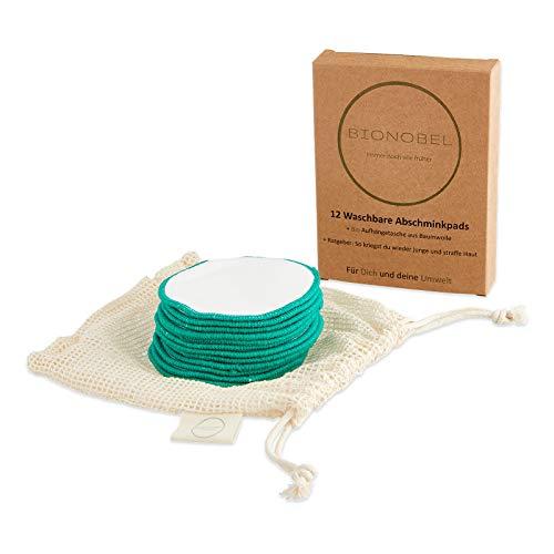 BIONOBEL 12 wiederverwendbare Abschminkpads   Nachhaltige ZERO WASTE Wattepads   Waschbare Kosmetikpads   Makeup Entferner   100% Hautfreundliche Bio Baumwolle   Inkl. Wäschenetz