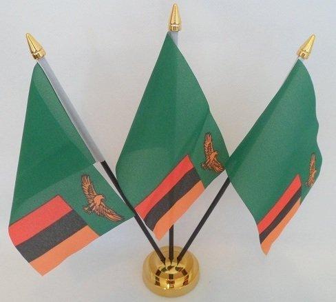 Sambia sambischer 3Flagge Desktop Tisch Mittelpunkt Flagge Flaggen mit Gold Boden perfekt für Party Konferenzen Büro Bildschirm