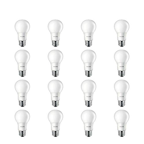 Philips LED Non-Dimmable A19 Frosted Light Bulb: 450-Lumen, 2700-Kelvin, 6.5-Watt (40-Watt Equivalent), E26 Medium Screw Base, Soft White, 16-Pack